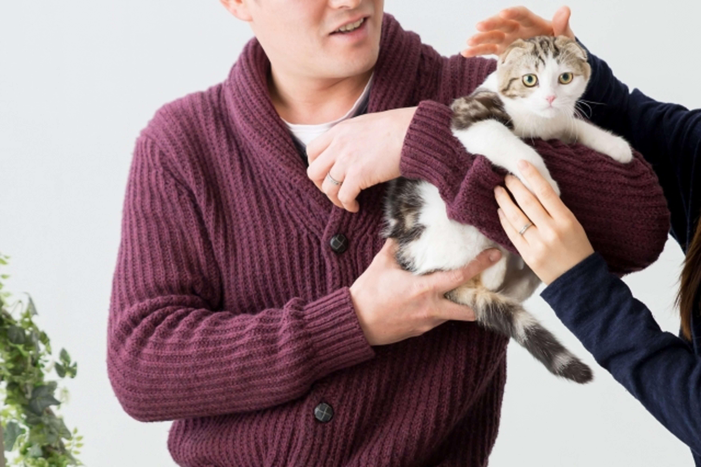 腕を振りほどこうとする猫